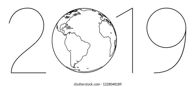 Illustration of the 2019 contour globe lettering. Elements of this image furnished by NASA