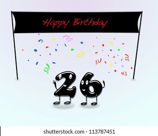 Illustration for 26th birthday party with cartoon numbers.