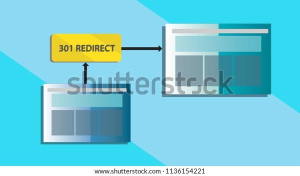 Illustration of 301 redirect concept.