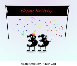 Illustration for 33th birthday party with cartoon numbers.