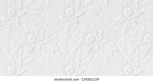 Illustration 3d background. Background image, white volumetric flowers of different size, with a shadow, placed horizontally and vertically. 3d panel. floral ornament. Render.Festive background