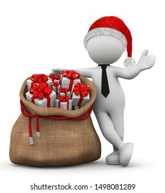 illustration 3d christmas man leaning against lot of gifts