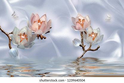 Illustration of 3D flowers with stem over water in decorative silk background wallpaper