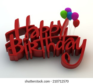 Illustration of 3d happy birthday text with balloons