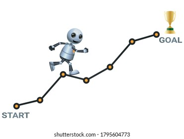illustration 3d of little robot climb ascending chart try to reach the goal on isolated white background
