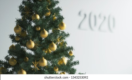 Illustration of 3d merry christmas tree with golden decorations, close up
