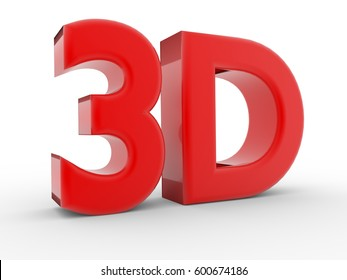 Illustration of 3d red font over white. 3d render
