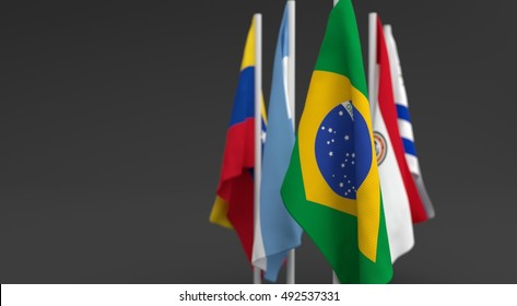 illustration 3d render, Flags of the five countries of the Mercosul economic bloc, with the leadership of Brazil