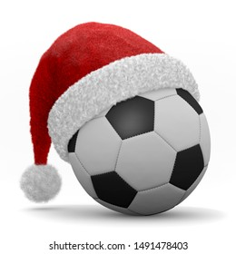 illustration 3d soccer ball with christmas hat