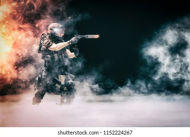 Illustration 3D  - Solitary Soldier (Police Officer) in confrontation with terrorists, bandits and others