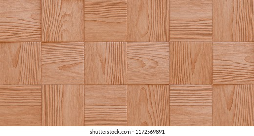 Illustration 3d. Texture, background, three-dimensional, realistic wooden boards with a shadow, rectangular shape, slats, with the texture of natural and painted wood, are located horizontally. Render