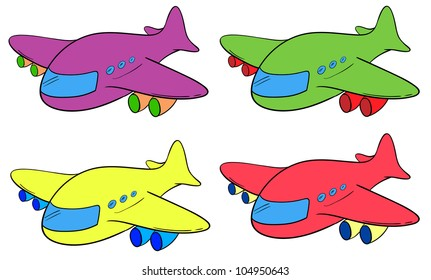 Illustration of 4 planes in different colours - EPS VECTOR format also available in my portfolio.