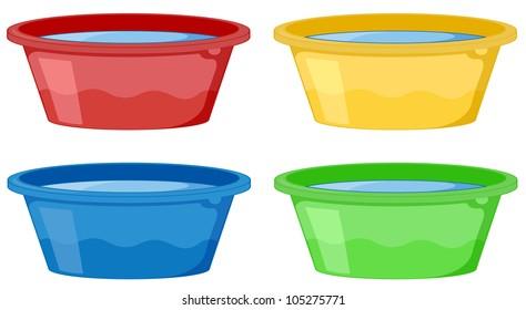 Illustration of 4 tubs on white