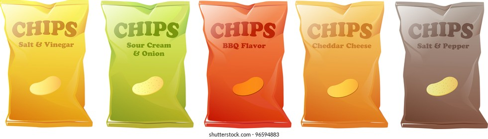 Illustration of 5 different kinds of potato chips.