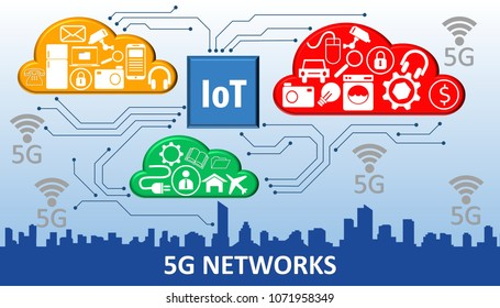 Illustration of 5G IOT Internet of Things Icons for Smart Home and Smart City concept
