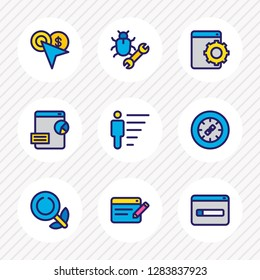 illustration of 9 advertisement icons colored line. Editable set of career, domain registration, bug fixing and other icon elements.