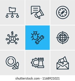 illustration of 9 advertisement icons line style. Editable set of directory submission, email marketing, affiliate marketing and other icon elements.