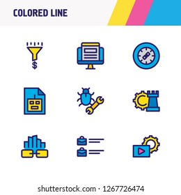 illustration of 9 advertising icons colored line. Editable set of jobs open, above the fold, traffic conversion and other icon elements.