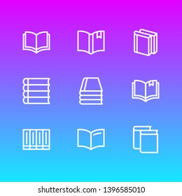 illustration of 9 book icons line style. Editable set of read, publishing, schoolbook and other icon elements.