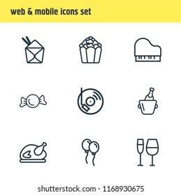 illustration of 9 celebrate icons line style. Editable set of dj music, turkey, candy icon elements.