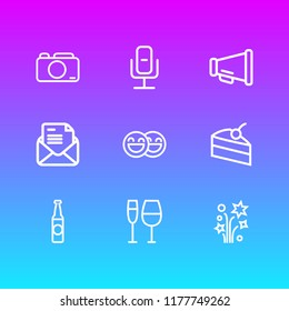 illustration of 9 celebrate icons line style. Editable set of invitation, happy people, petard and other icon elements.