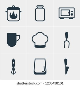 illustration of 9 cooking icons. Editable set of coffee mug, water glass, cooking hat and other icon elements.