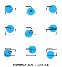 illustration of 9 dossier icons line style. Editable set of checked, dossier, remove and other icon elements.