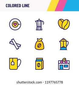 illustration of 9 drink icons colored line. Editable set of percolator, coffee love, coffee mug and other icon elements.