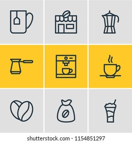 illustration of 9 drink icons line style. Editable set of percolator, arabica bean, cafe and other icon elements.