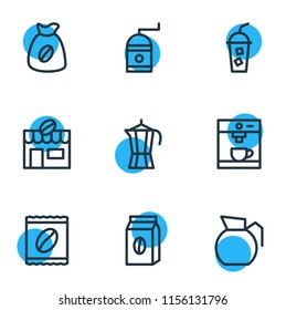 illustration of 9 drink icons line style. Editable set of percolator, instant, cold drink and other icon elements.