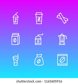 illustration of 9 drink icons line style. Editable set of pack, percolator, cold drink and other icon elements.