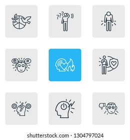 illustration of 9 emotions icons line style. Editable set of passion, cognitive process, pessimistic and other icon elements.