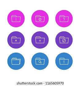 illustration of 9 folder icons line style. Editable set of significant, missed, dossier and other icon elements.