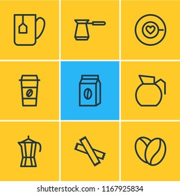 illustration of 9 java icons line style. Editable set of percolator, pack, tea bag and other icon elements.