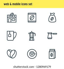 illustration of 9 java icons line style. Editable set of percolator, sack, tea bag and other icon elements.
