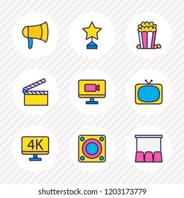 illustration of 9 movie icons colored line. Editable set of award, tv, loudspeaker and other icon elements.
