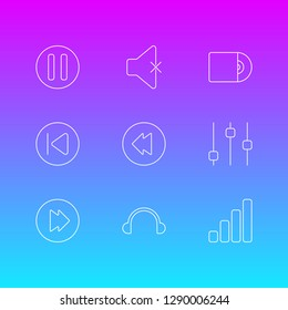 illustration of 9 music icons line style. Editable set of pause, phonic, backward and other icon elements.