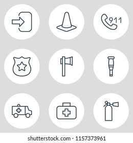 illustration of 9 necessity icons line style. Editable set of ambulance, axe, crutches and other icon elements.