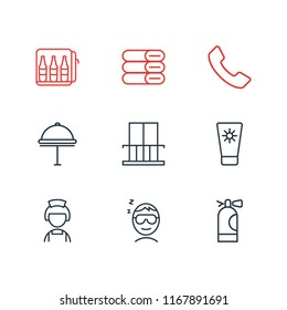 illustration of 9 travel icons line style. Editable set of telephone, minibar, towels and other icon elements.