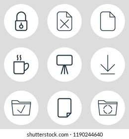 illustration of 9 workplace icons line style. Editable set of presentation, empty dossier, checked and other icon elements.