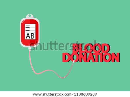 Illustration Of AB Blood Pack With Green Background Wording Donation