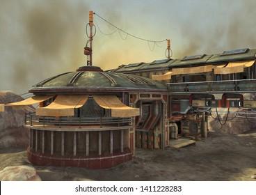 An illustration of an abandoned outpost in the desert. 3D Illustration.