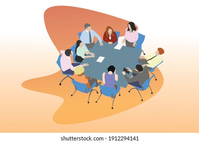 illustration about acitivity in office like meeting or show team work