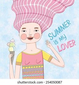 Illustration about a girl who loves the summer and ice cream