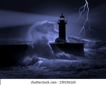 Illustration about heavy storm weather conditions at the entrance of an harbor.