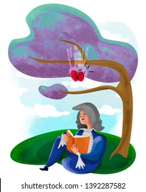 illustration about isaac newton, discovery of the law of gravity and the threatening apple.