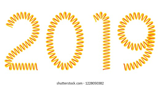 Illustration of the abstract 2019 New Year spiral number