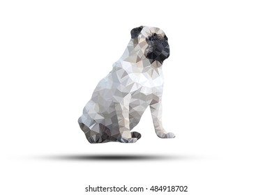 illustration of abstract background for design. Polygonal Pug Dog