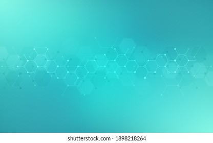 Illustration of the abstract background of molecules. Molecular structures or chemical engineering, genetic research, innovation technology. Scientific, technical, or medical concept