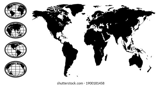 Illustration of the abstract black silhouette globe set and world map. Elements of this image furnished by NASA